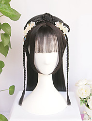 cheap -halloweencostumes Vintage Wig Chinese Ancient Style Wig Modelling Wig Hair Ornament Hanfu Braids Of Hair Air Bangs The Whole Wig Custom Product
