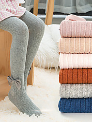 cheap -Kids Girls' Tights 1pc Light Pink Blushing Pink Grey Solid Color Ribbon bow Knitted Cotton Daily Wear Casual Socks 6 Months+