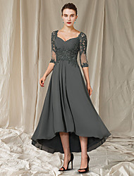 cheap -A-Line Mother of the Bride Dress Elegant V Neck Asymmetrical Ankle Length Chiffon Lace Half Sleeve with Pleats Appliques 2021