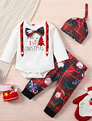 cheap -3 Pieces Baby Boys' Christmas Romper & Pants Active Christmas Cotton White Plaid Letter Print Long Sleeve Regular / Fall