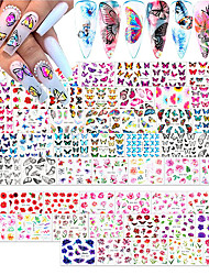 cheap -54 Sheets Water Slide Butterfly Nail Art Decals WithButterfly Nail Stickers Flower Butterfly Stickers Nails Design Nail Water Transfer Stickers Butterfly Decals For Nails Manicure 3d Decoration