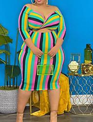 cheap -Women's Plus Size Dress Bodycon Midi Dress Long Sleeve Stripes Casual Spring Summer Color bar Blue XL XXL 3XL 4XL 5XL