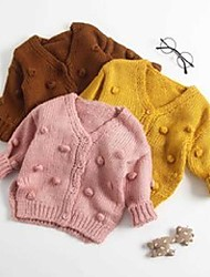 cheap -autumn baby hand-made bubble ball sweater knitted cardigan jacket baby sweater coat girls cardigan girls winter sweaters x0728
