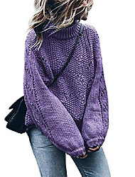 cheap -Women's Pullover Sweater Classic Style Solid Color Active Casual Long Sleeve Loose Sweater Cardigans Fall Winter dark brown Lake blue Emerald Green / Holiday