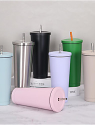 cheap -Insulated 304 Stainless Steel Water Bottle with Straw for Sports and Travel Large-capacity Vacuum Coffee Cup Portable Car Vacuum Cup Gift