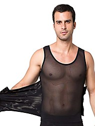 cheap -men compression vest body shaper slimming shirt high elasticity shapewear with 3 row hook,black,m