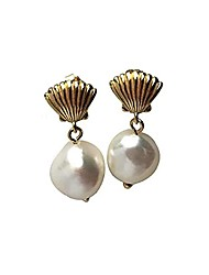cheap -champaign gold plated seashell and baroque freshwater pearl earrings s925 sterling silver drop dangle earrings vintage summer gifts for women girls