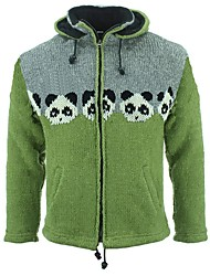 cheap -Men's Unisex Cardigan Knitted Animal Stylish Vintage Style Long Sleeve Sweater Cardigans Stand Collar Hooded Fall Winter White panda Large amount of spot long-term supply Little Grey Sheep
