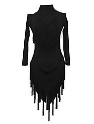 cheap -Latin Dance Dress Tassel Women's Training Performance Long Sleeve Natural Crystal Cotton