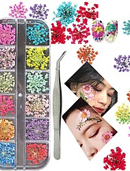 cheap -3D Nail Art Decoration Kits 24pcs 12 Colors Nail Dried Flowers Decals Curved Tweezers Polish Pressed Dry Flowers Water Decal Manicure Design Tools Set