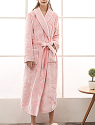 cheap -Women's Plus Size Warm Robes Gown Bathrobes Home Party Daily Spa Modern Style Pure Color Polyester Plush Simple Casual Soft Fall Winter V Wire Lace Up Belt Included