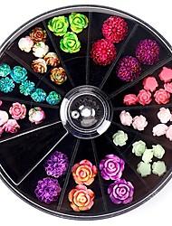 cheap -3D Rose Various Petal Resin Glazed Flowers Pearl Arylic Nail Art Rhinestone Gems Decorations Manicure DIY Tips