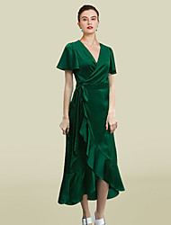 cheap -A-Line Mother of the Bride Dress Elegant V Neck Asymmetrical Ankle Length Charmeuse Short Sleeve with Ruffles 2021