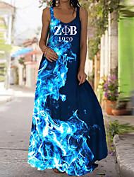 cheap -Women's Strap Dress Maxi long Dress Blue Blushing Pink Red Light Green Sleeveless Pattern Summer Casual / Daily 2021 S M L XL XXL XXXL