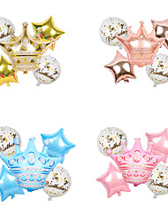 cheap -Gold Powder Blue Rose Gold Birthday Crown Set Aluminum Film Balloons Children's Birthday Party