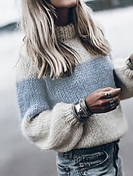 cheap -Women's Sweater Knitted Color Block Stylish Long Sleeve Regular Fit Sweater Cardigans Turtleneck Fall Blue Wine Gray