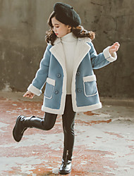 cheap -Kids Girls' Coat Light Blue Red Patchwork Solid Color Cotton Basic Fashion Adorable Thick Velvet 2-12 Years