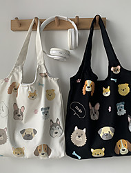 cheap -Canvas Shoulder storage bag back to school Halloween goody bagcute animals grocery shopping cloth book tote  37*36 cm
