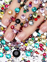 cheap -800pcs/Pack Mix Sizes Multi-Colored Glitter 3D Diamond Facet Flat Back Rhinestones Acrylic Nail Art Crystal Gems Decoration