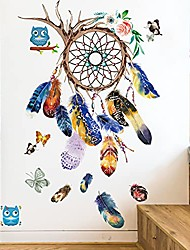 cheap -dream catcher feathers wall stickers decals, removable colourful feather butterfly wallpaper decor, peel & stick diy art murals for bedroom kids room nursery office home decoration (a)