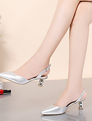 cheap -Women's Heels Pumps Pointed Toe Daily Office PU Sparkling Glitter Buckle Solid Colored White Silver