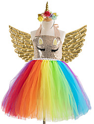 cheap -Kids Little Girls' Dress Unicorn colour Tutu Dress Party Birthday Sequins Fuchsia Gold Rainbow Knee-length Sleeveless Princess Costume Cute Dresses Halloween Spring Summer Slim 3-12 Years