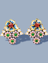 cheap -Women's AAA Cubic Zirconia Earrings Fancy Petal Stylish Luxury Elegant Sweet Boho Earrings Jewelry Blushing Pink For Anniversary Party Evening Date Birthday Festival 1 Pair