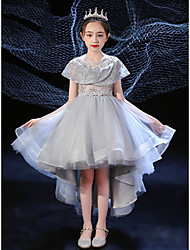 cheap -Ball Gown Asymmetrical Flower Girl Dresses Event / Party Polyester Raglansleeve Jewel Neck with Appliques