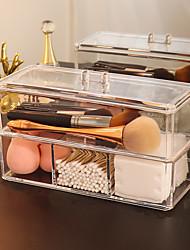 cheap -Transparent Cosmetic Storage Box Makeup Organizer Three-color Cotton Swab Cotton Pad Storage Box Desktop Acrylic Material