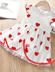 cheap -Kid's Little Girls' Dress Solid Color White embroidered heart mesh skirt Short Sleeve Chic & Modern Elegant & Luxurious Dresses