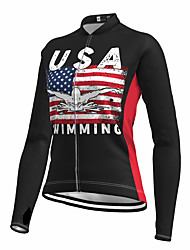 cheap -21Grams Women's Long Sleeve Cycling Jersey Spandex Black American / USA National Flag Bike Top Mountain Bike MTB Road Bike Cycling Quick Dry Moisture Wicking Sports Clothing Apparel / Stretchy