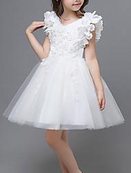 cheap -Kids Little Girls' Dress Floral Tulle Dress Party Wedding Mesh Lace Blue Blushing Pink Wine Knee-length Sleeveless Princess Sweet Dresses Summer Regular Fit 3-12 Years