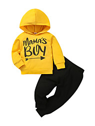 cheap -2 Pieces Baby Boys' Hoodie & Pants Clothing Set Fashion Casual Daily Cotton Yellow Gray Black Letter Print Long Sleeve Regular / Fall / Winter