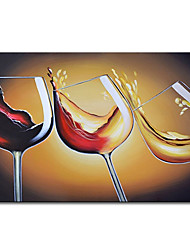 cheap -Oil Painting Handmade Hand Painted Wall Art Mintura Modern Abstract Wine Glass Picture for Home Decoration Decor Rolled Canvas No Frame Unstretched