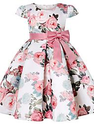 cheap -Kids Little Girls' Dress Flower Skater Dress Party Bow Blushing Pink Knee-length Short Sleeve Princess Sweet Dresses Summer Regular Fit 3-12 Years