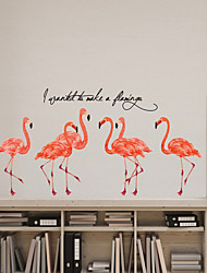 cheap -Cartoon Flamingos Wall Stickers Bedroom Living Room Removable Pre-pasted PVC Home Decoration Wall Decal 2pcs
