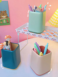 cheap -Cartoon Two-Color Splicing Pen Holder Creative Simple Office Desktop Ornaments Storage Writing Case  8*8*10.8cm