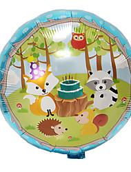 cheap -18 Inch Jungle Animal Cartoon Round Ball Forest Birthday Party Fox Aluminum Foil Balloon