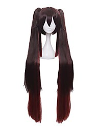 cheap -halloweencostumes linna hutao cosplay wig long brown ponytails straight gradient synthetic hair for halloween party with wig cap