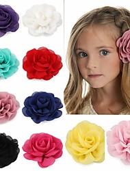 cheap -10 Pcs/set Retail 8.5cm Newborn Baby Chiffon Petals Poppy Flower Hair Clips Rolled Rose Fabric Hair Flowers For Kids Girls Hair Accessories