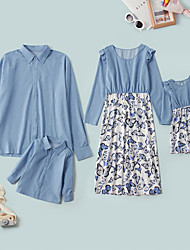 cheap -Family Sets Family Look Butterfly Daily Patchwork Blue Long Sleeve Midi Denim Dress Daily Matching Outfits / Fall / Cute / Print