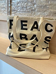 cheap -Canvas Shoulder storage bag back to school Halloween goody bag basic letters portable grocery shopping cloth book tote   44*4 cm