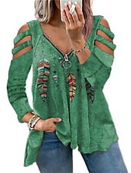 cheap -Women's Plus Size Tops Blouse Floral Long Sleeve V Neck Casual Fall Spring Black+White colourful Aqua green Big Size L XL 2XL 3XL 4XL