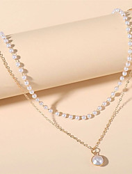 cheap -Women's Necklace Classic Friends Artistic Ethnic Romantic European Imitation Pearl White 40 cm Necklace Jewelry 1pc For Christmas Gift Formal Prom Beach