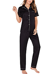 cheap -Women's Pajamas Sets Home Party Daily Basic Pure Color Polyster Satin Simple Soft Shirt Pant Spring Summer Lapel Short Sleeve Buckle