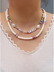 cheap -Women's Beaded Necklace Beads Colorful Holiday Cute Sweet Imitation Pearl Glass Plastic 45 cm Necklace Jewelry 1pc For Street Sport Birthday Party Beach Festival