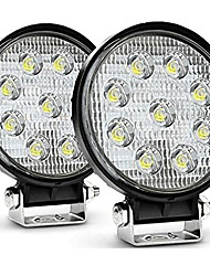 cheap -OTOLAMPARA 2PCS 4.5 27W Round Flood Light Pod Off Road Fog Driving Roof Bar Bumper for Jeep SUV Truck Hunters Trailer 6000K White