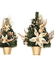 cheap -Christmas Creative Half-side Christmas Tree Green Pine Needles Golden Cutting Tree Christmas Decoration