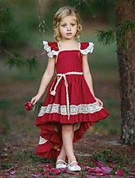 cheap -Kids Little Girls' Dress Solid Color Ribbon bow Daily Wear Red Short Sleeve Casual / Daily Dresses All Seasons 0-5 Years / Cotton