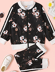 cheap -Kids Girls' Clothing Set 2 Pieces Long Sleeve Black Floral Print Cotton Street Casual / Daily Comfort Sports Regular 2-8 Years / Fall / Winter